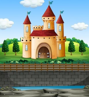 Scène met kasteel binnen op de muur