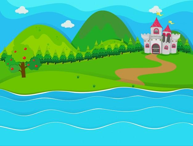 Scène met kasteel door de rivier