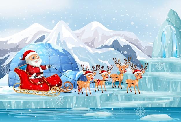 Scène met kerstman en rendieren op slee