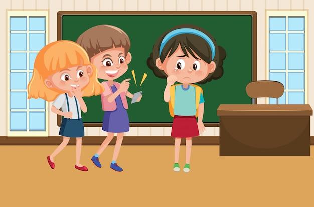 Scène met kind pesten hun vriend in de klas