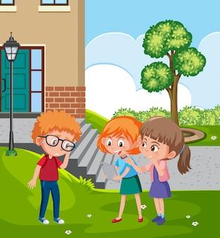 Scène met kind pesten hun vriend in het park