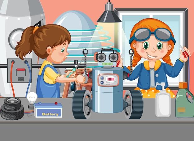 Scène met kinderen die samen robot repareren