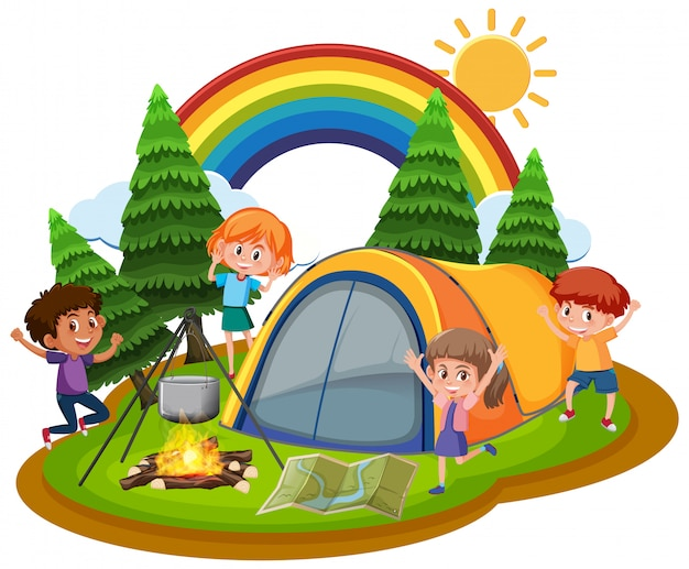 Scène met kinderen spelen in het park overdag