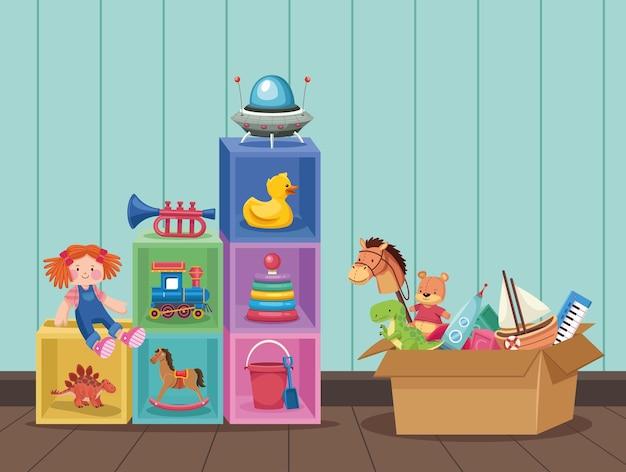 Scène met kinderspeelgoed
