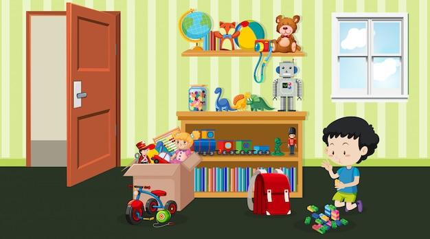 Scène met kleine jongen die in de kamer speelt