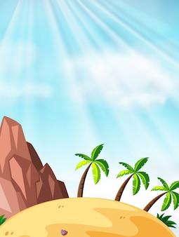 Scène met kokospalmen op de strandachtergrond