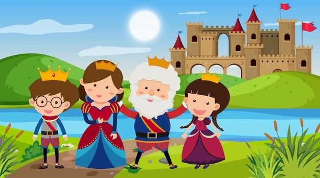 Scène met koning en koningin in het paleis