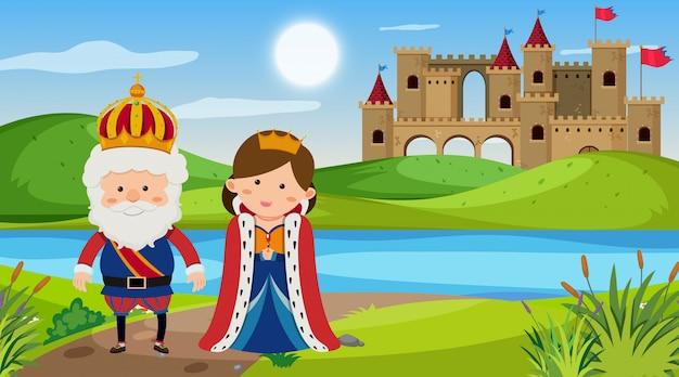 Scène met koning en koningin in het park