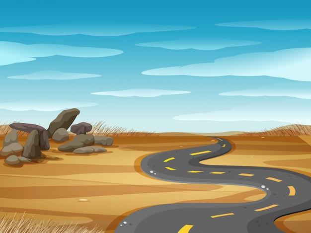 Scène met lege weg in woestijngrond