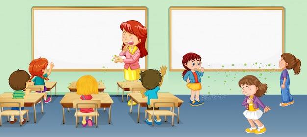 Scène met leraar en veel studenten die viruscellen in de klas verspreiden