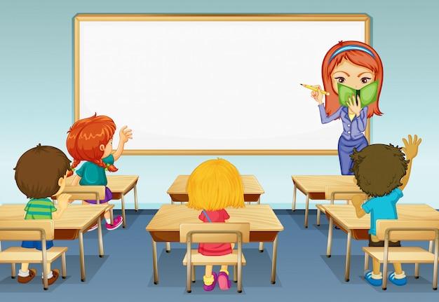 Scène met leraar en veel studenten in de klas