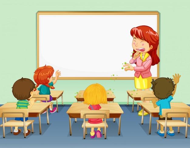 Scène met leraar hoesten in de klas