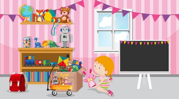 Scène met meisje spelen in de kamer