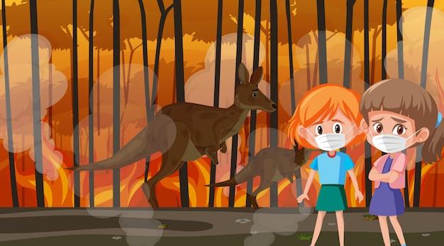 Scène met meisjes en dieren in de grote natuurbrand