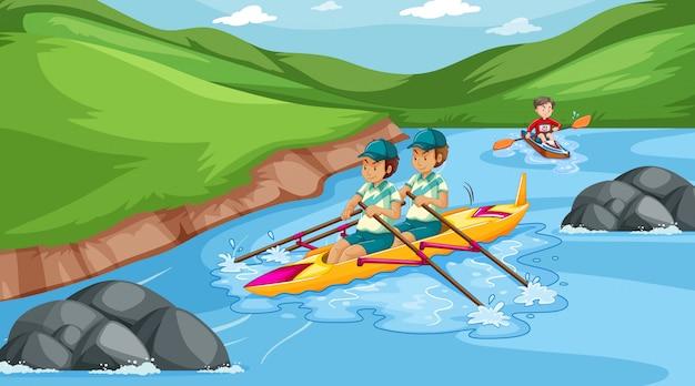 Scène met mensen die boot in de rivier roeien