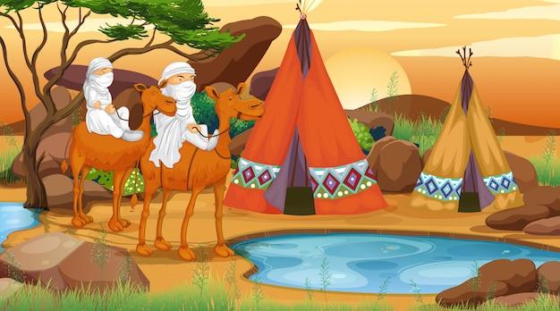 Scène met mensen die kamelen in woestijn berijden