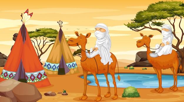 Scène met mensen die op kamelen rijden