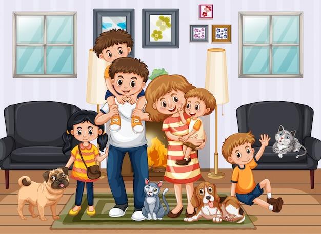 Scène met mensen die thuis blijven met familie