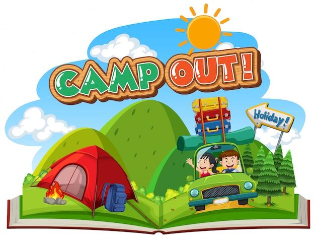 Scène met mensen gaan kamperen op de berg
