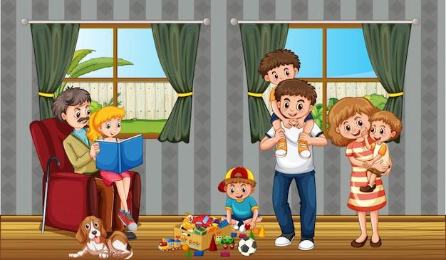 Scène met mensen in familie die thuis ontspannen