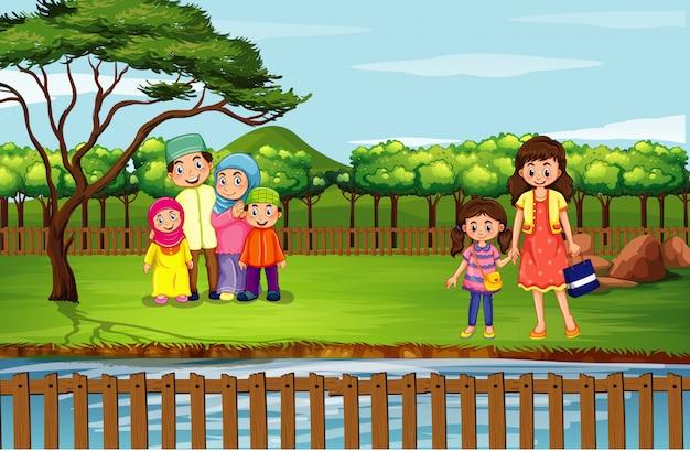 Scène met mensen in het park