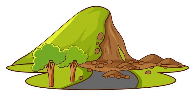 Scène met modderstroom de berg af
