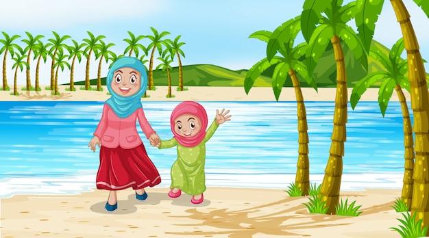 Scène met moeder en dochter op het strand