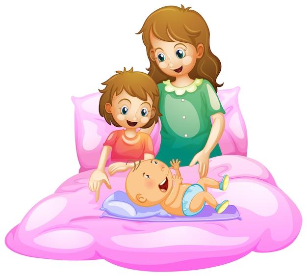 Scène met moeder en kinderen in bed