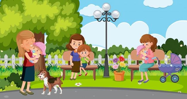 Scène met moeders en gelukkige kinderen in het park