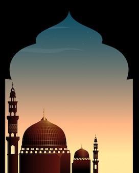 Scène met moskee bij schemering