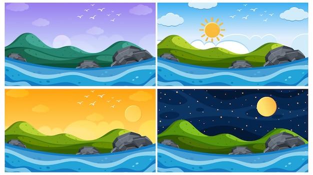 Scène met oceaan op verschillende tijdstippen
