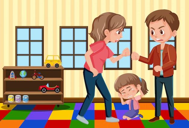 Scène met ouders die hun familie thuis pesten