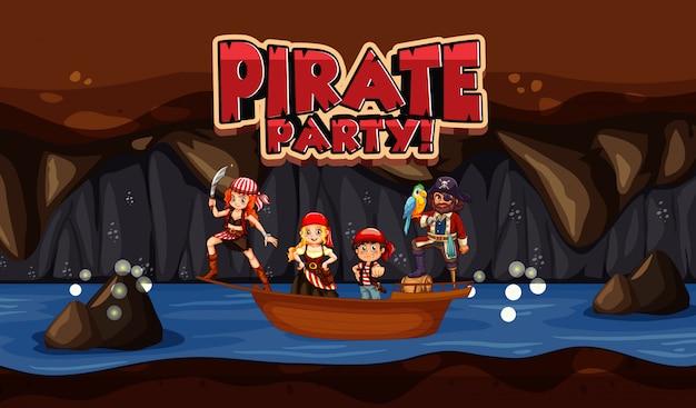 Scène met piraat en bemanningen in kleine boot en woord voor piratenfeest