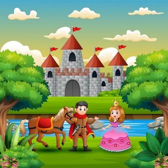 Scène met prins en prinses aan de rand van de rivier