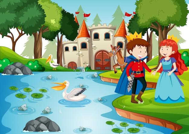 Scène met prins en prinses bij het kasteel