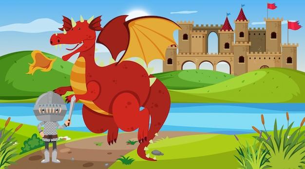 Scène met ridder en draak in sprookjesland