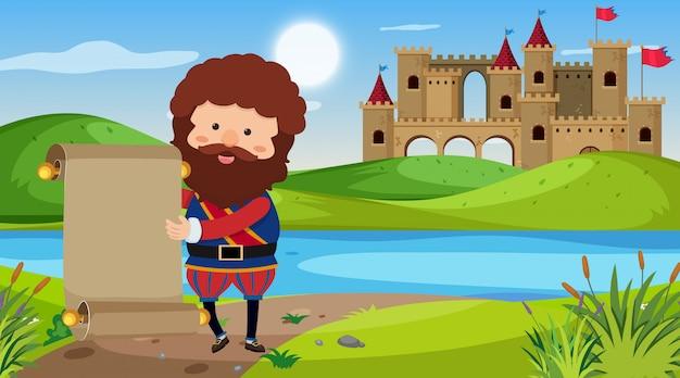 Scène met ridder in het kasteel