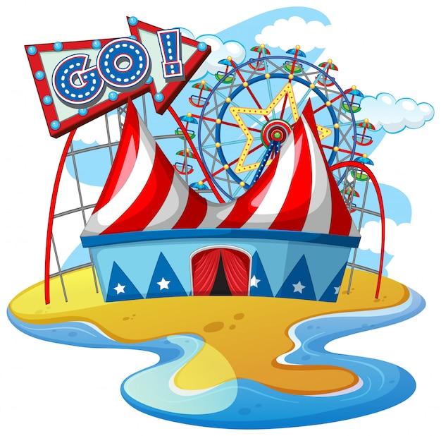 Scène met ritten in het circus op witte achtergrond