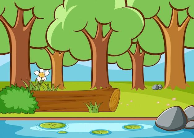 Scène met rivier in het bos