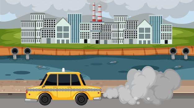 Scène met rook die uit de fabrieken en auto's in de stad komt