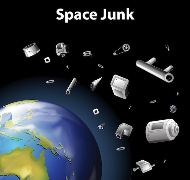 Scène met ruimteafval in de ruimte