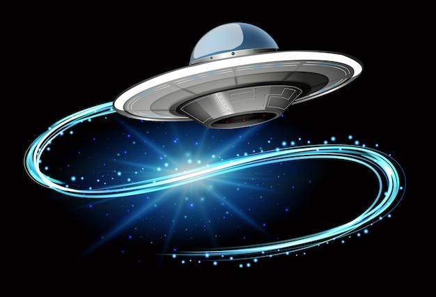 Scène met ruimteschip dat in de donkere melkweg vliegt