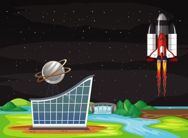 Scène met ruimteschip vliegen in de lucht