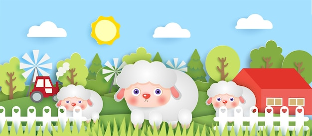 Scène met schattige boerderijdieren in de stijl van boerderijdieren.