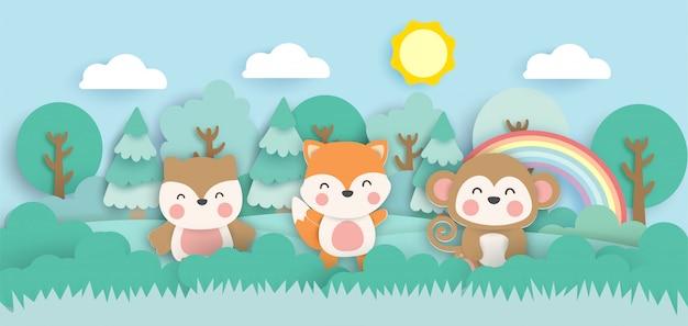 Scène met schattige dieren in het bos papier knippen stijl.