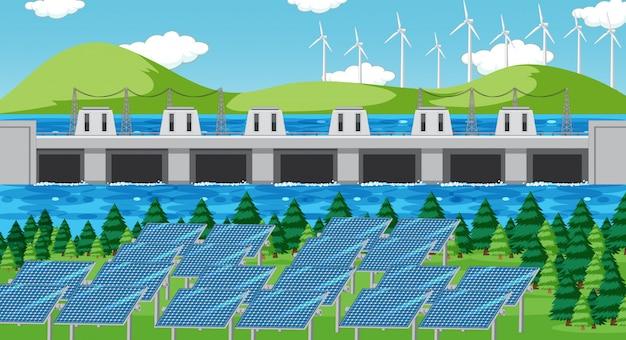 Scène met schone energie in het veld