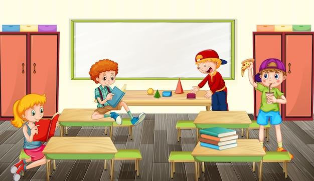 Scène met schoolkinderen in de klas