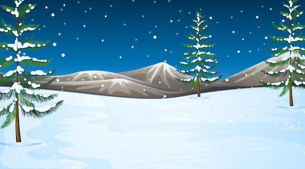 Scène met sneeuw in het veld