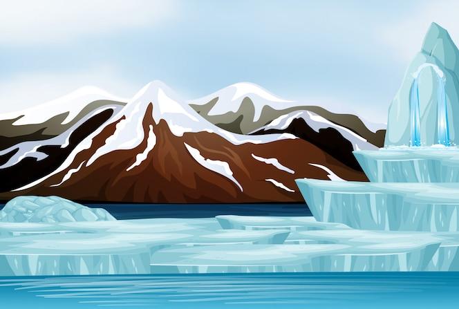 Scène met sneeuw op de bergen