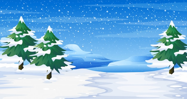 Scène met sneeuw op grond en bomenillustratie